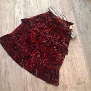 Cynthia Steffe Boho Cranberry Tiered Ruffled Maxi